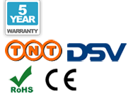 5 anni di garanzia, Spedizione, CE e marchio RoHS